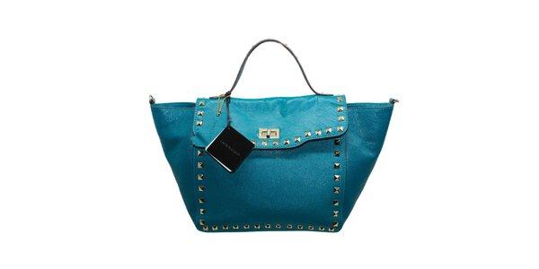 Dámska tyrkysová kožená kabelka s cvočkami Belle&Bloom