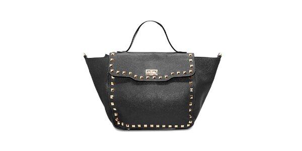 Dámska čierna kožená kabelka s cvočkami Belle&Bloom