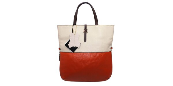 Dámska oranžovo-krémová kožená kabelka Belle&Bloom