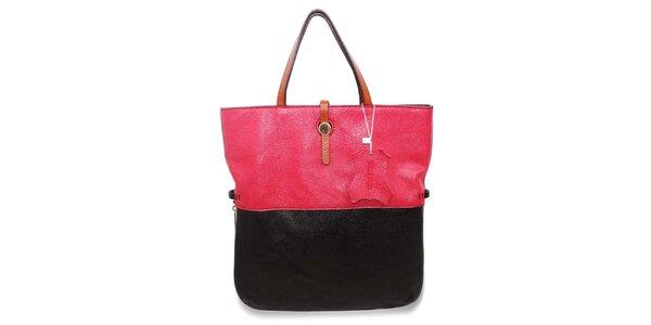 Dámska fuchsiovo-čierna kožená kabelka Belle&Bloom