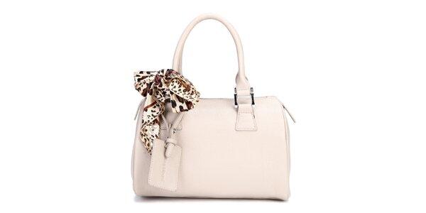 Biela kufríková kabelka Belle & Bloom s ozdobnou šatkou