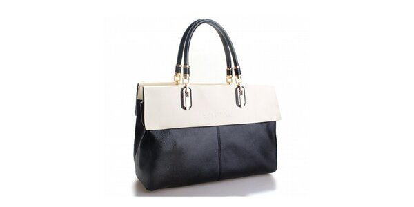 Dámska čierna kabelka Belle & Bloom s bielym lemom