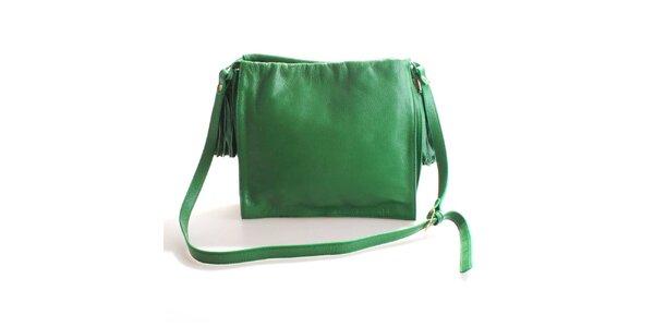 Dámska trávovo zelená kožená brašňa Belle&Bloom