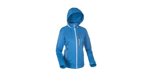 Dámska modrá softshellová bunda Envy s bielymi zipsami
