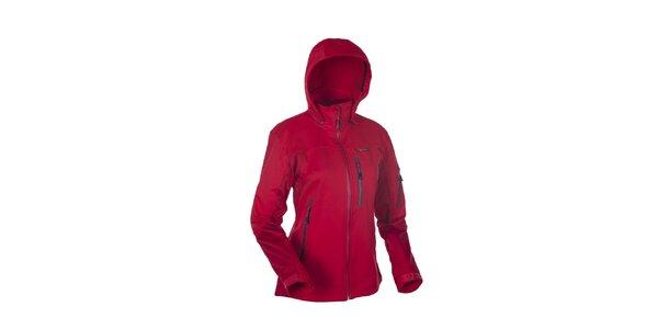 Dámska červená softshellová bunda s výraznými zipsami