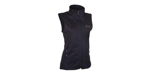 Dámska softshellová čierna vesta so vzorom Envy