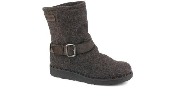 Dámske hnedé melírované kotníčkové boty Bronx