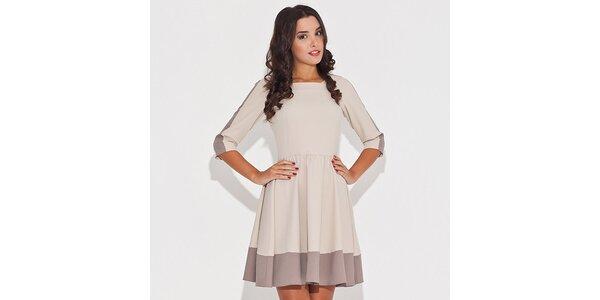 Dámske béžové šaty s kontrastným lemom Katrus