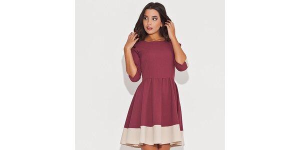Dámske červené šaty s kontrastným lemom Katrus