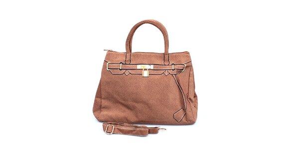 Dámska hnedá kabelka s potlačou zlatého zámčeku London Fashion