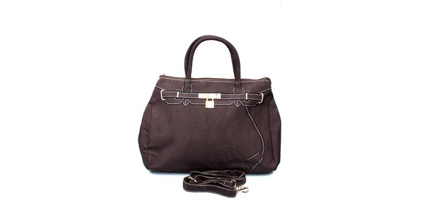 Dámska tmavo hnedá kabelka s potlačou zlatého zámčeku London Fashion