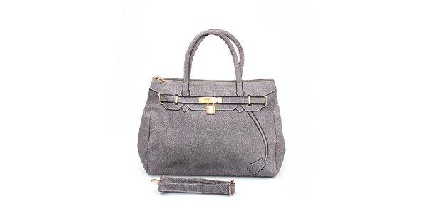 Dámska šedá kabelka s potlačou zlatého zámčeku London Fashion