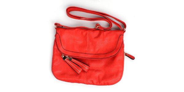 Dámska červená kabelka London Fashion s nastaviteľným popruhom
