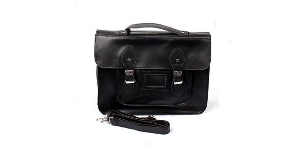 Dámska veľká čierna kabelka s prackami London Fashion