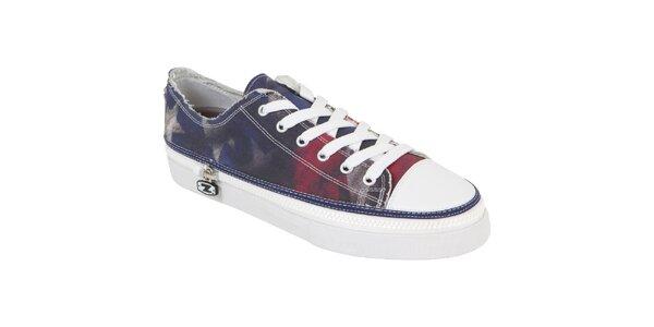 Členkové šnurovacie zip-on topánky Zipz s motívom americkej vlajky