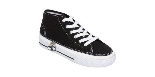 Vyššie čierne šnurovacie zip-on topánky Zipz