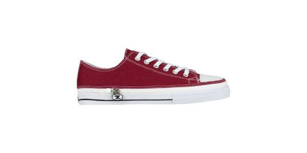 Červené šnurovacie zip-on topánky Zipz