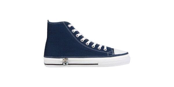 Džínsovo modrej členkové šnurovacie zip-on topánky Zipz