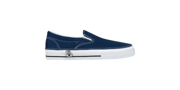 Džínsovo modrej nazúvacie zip-on topánky Zipz