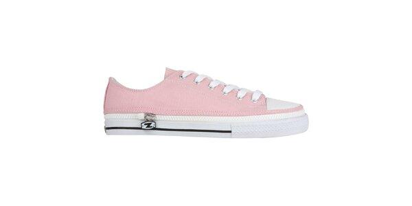 Ružové šnurovacie zip-on topánky Zipz