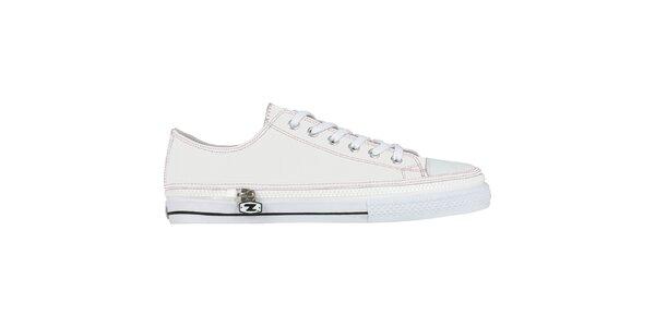 Biele šnurovacie zip-on topánky Zipz