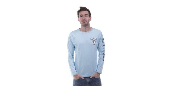 Pánske svetlo modré tričko Lee Cooper s potlačou