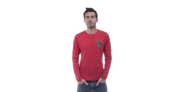 Pánske červené tričko Lee Cooper s potlačou