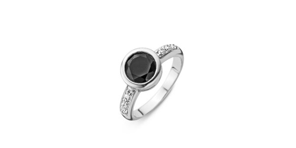 Dámsky strieborný prsteň s čiernym kamienkom Orphelia