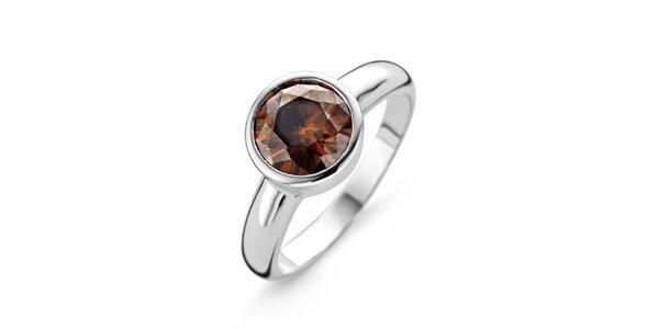 Dámsky strieborný prsteň s hnedým kamienkom Orphelia