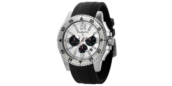 Pánske športovo-elegantné oceľové hodinky s čiernym remienkom Orphelia v…