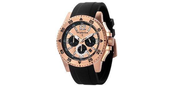 Pánske športovo-elegantné oceľové hodinky s čiernym remienkom Orphelia