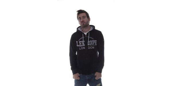Pánska čierna mikina Lee Cooper so zipsom