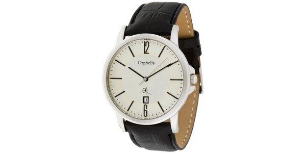 Pánske oceľové hodinky s bielym ciferníkom Orphelia s koženým remienkom