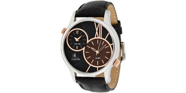 Pánske čierne oceľové hodinky s duálnym ciferníkom Orphelia