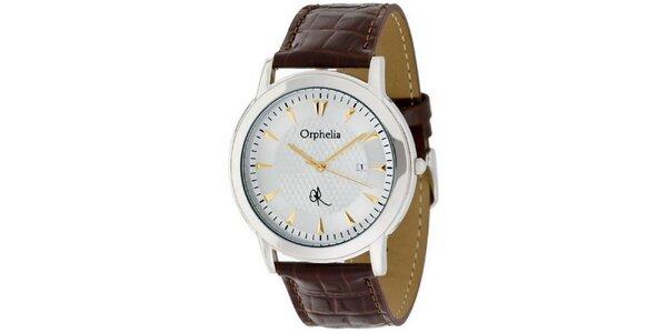 Pánske oceľové hodinky Orphelia s hnedým remienkom