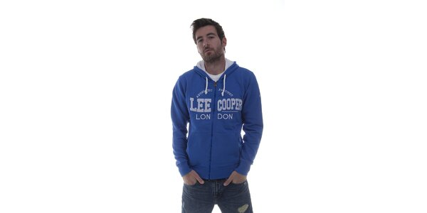 Pánska modrá mikina Lee Cooper so zipsom