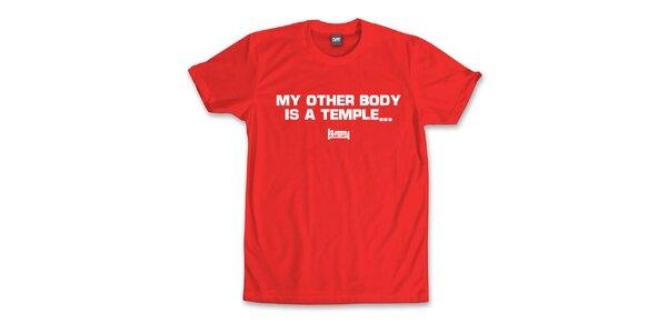 Pánske červené tričko s potlačou Plain Lazy