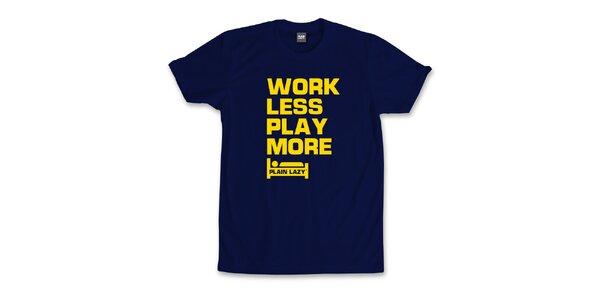 Pánske tmavo modré tričko s vtipnou potlačou Plain Lazy