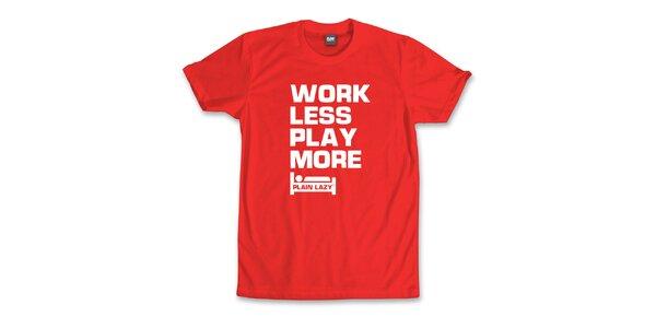 Pánske červené tričko s vtipnou potlačou Plain Lazy