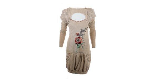 Dámske svetlé khaki šaty s výšivkou Angels Never Die
