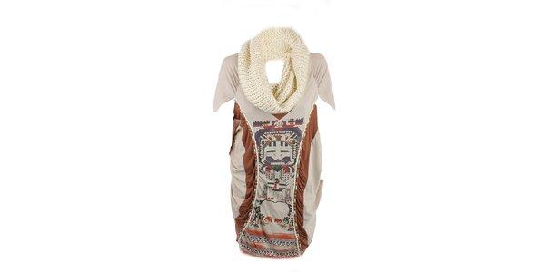 Dámske béžové šaty s aztéckym vzorom a odnímateľným rolákom Angels Never Die