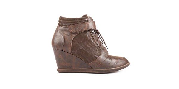 Dámske hnedé šnurovacie topánky s opätkom Elite