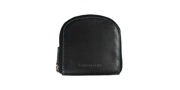 Dámska čierna peňaženka s modrým prešívaním Forbes&Lewis