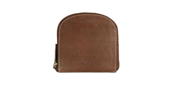 Dámska hnedá peňaženka s bielym prešívaním Forbes&Lewis