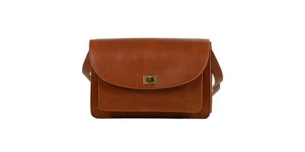 Dámska hnedá kožená taška cez rameno Forbes&Lewis