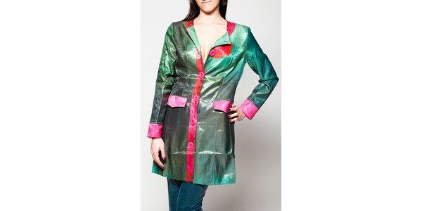 Dámsky zelený kabát s ružovými lemami Culito from Spain