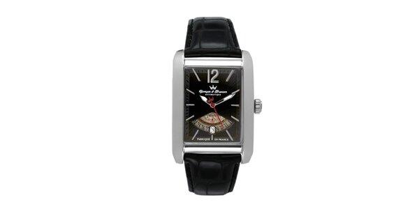 Pánske oceľové hodinky s čiernym koženým remienkom Yonger & Bresson