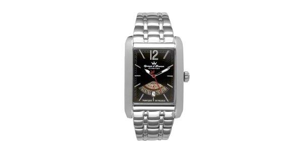 Pánske oceľové hodinky Yonger & Bresson s čiernym ciferníkom