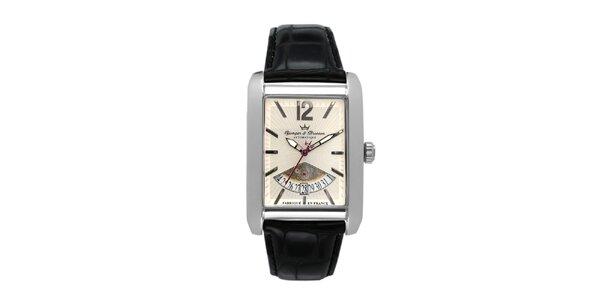 Pánske oceľové hodinky s koženým remienkom Yonger & Bresson s béžovým ciferníkom
