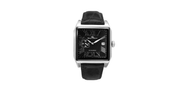 Pánske oceľové štvorcové hodinky Yonger & Bresson s koženým remienkom